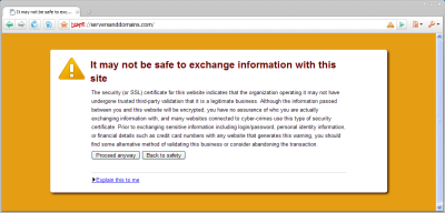 Comodo Dragon displaying a warning when visiting a domain-validated SSL site