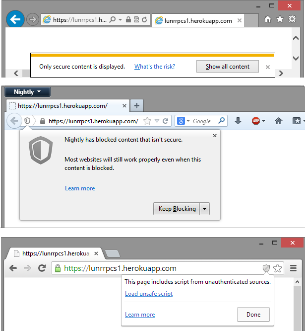 Mixed Active Content Blocking in IE10, Pre-release Firefox Nightly, Pre-release Chromium