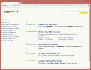 The typosquatting site at paypalco.uk features monetized adverts for both PayPal and its competitors.