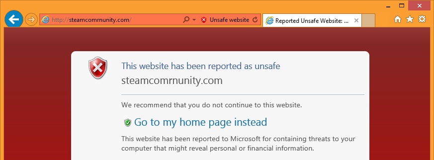"The ""steamcomrnunity.com"" phishing site is blocked natively within Internet Explorer. The domain in the address bar is also displayed more clearly, allowing sharp-eyed users to identify it as fake."