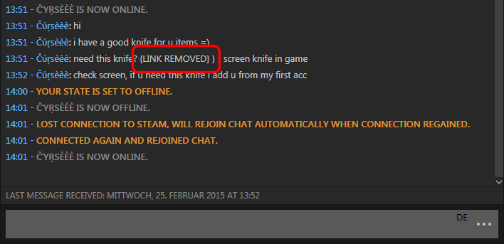 A malicious link removed from a Steam chat message (highlighted).