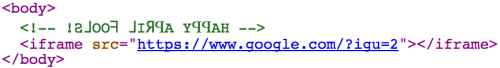 com.google uses an iframe to display a backwards search page from google.com. Also not the reversed text in the HTML comment, revealing that it is an April Fool's day joke.