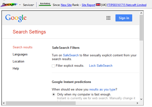 Google's Search Settings being successfully displayed within an iframe on a Netcraft domain