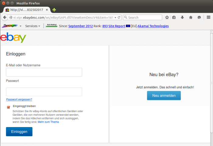 An eBay phishing form hosted on eBay's own infrastructure. The form contents are submitted to an external domain in Russia.