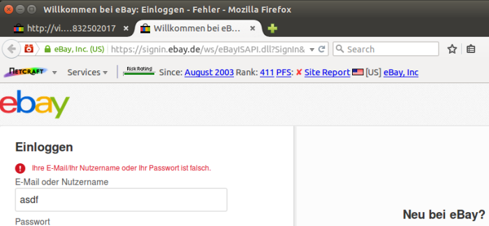 After the victim's credentials are stolen, he is redirected to the real eBay login page. Note that the username field has been automatically populated with the username stolen by the fraudster.
