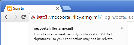 Chrome regards the certificate as affirmatively insecure, even when the appropriate DoD root certificates are installed.
