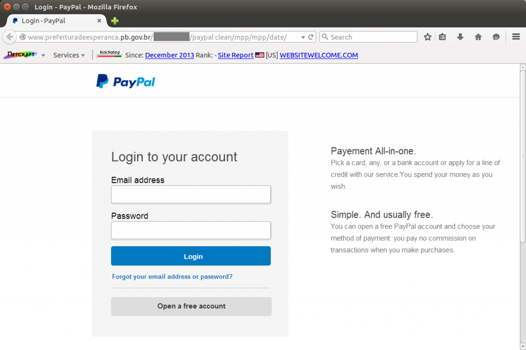 The PayPal phishing site, which also tried to deliver malware to its victims.