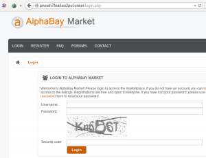 The genuine AlphaBay Market login form, accessed via its .onion address on a Tor-enabled browser.