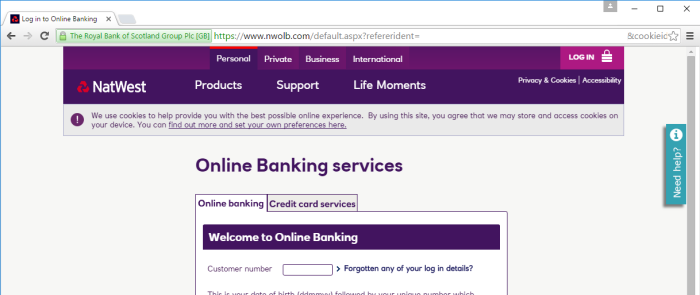 NatWest's online banking website at www.nwolb.com lacks an HSTS policy and also offers an HTTP service to redirect its customers to the HTTPS site. This setup is vulnerable to the type of man-in-the-middle attack described above.