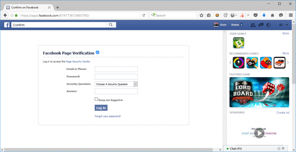 A phishing site displayed on the real Facebook website.