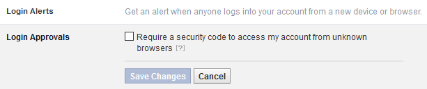 Some of Facebook's security settings.
