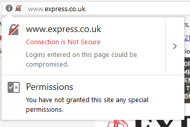 Clicking on the padlock shows why the page is not secure.