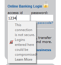 http://www.communitybankoffitz.com displays a padlock on its login form, but Firefox 52 reveals the true situation.
