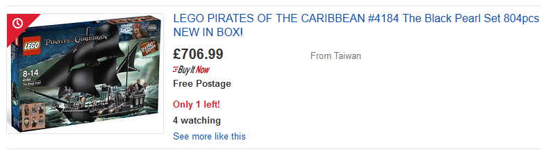 An eBay listing for the Black Pearl, which had an original RRP of £84.99.