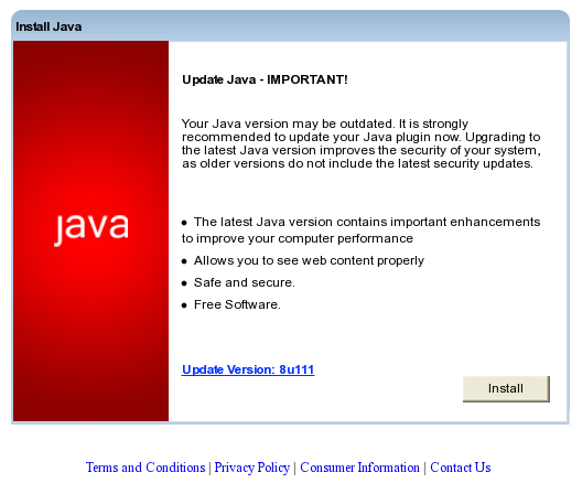 Some visitors were presented with a fake Java update page, which downloaded malware.