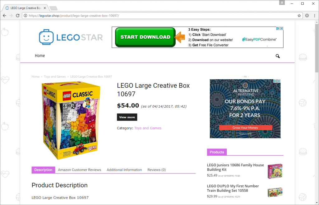 legostar.shop is a clear infringement of LEGO's rights. It monetises its content through advertising banners and Amazon affiliate links to LEGO products.