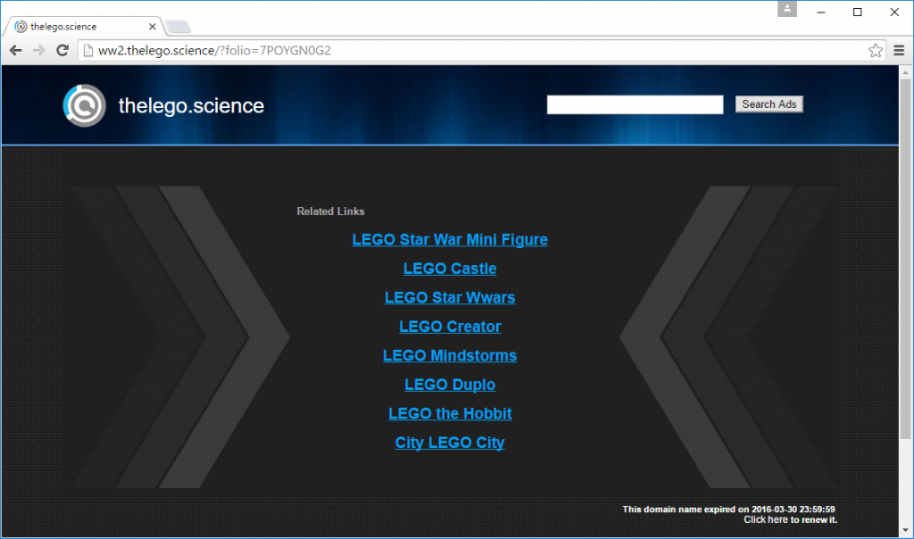 thelego.science has expired, but still displays monetized search links.