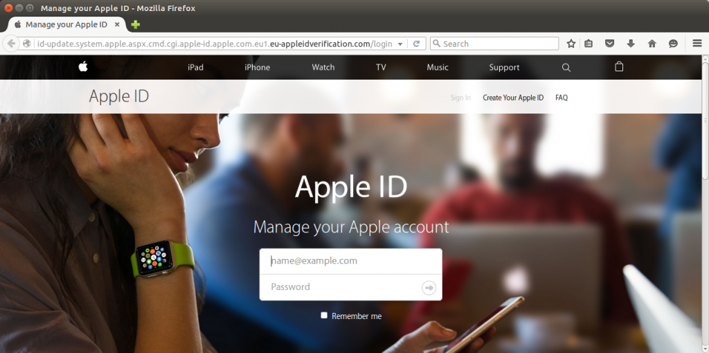 An Apple ID phishing site currently hosted by Offshore Racks in Panama.