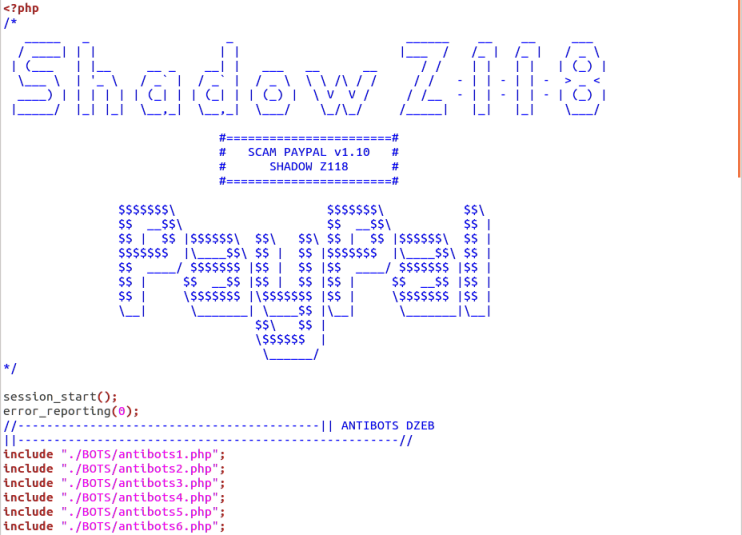 "The PayPal phishing site makes use of a ready-made phishing kit provided by SHADOW Z118. It includes several comprehensive ""antibots"" PHP scripts to avoid detection by search engines and enforcement agencies."