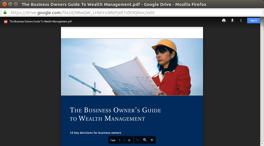 "Ironically, after the victim has been phished, he will be redirected to a PDF file on Google Drive entitled ""The Business Owner's Guide to Wealth Management""."