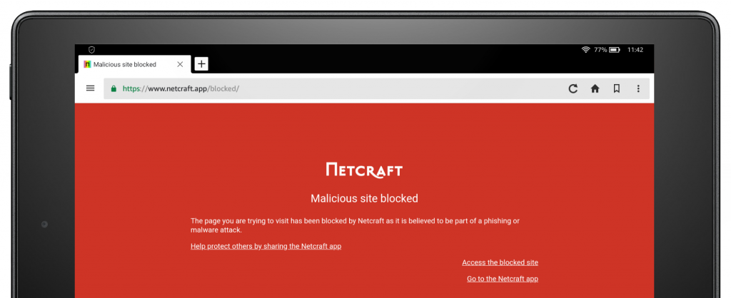 The app's malicious site warning page in Amazon's Silk browser