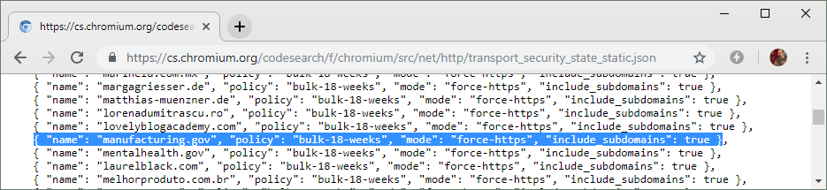 manufacturing.gov appears in Chromium's HSTS preload list, which ensures that the website's strict transport policy will always be enforced, even when a browser has never visited the site before.