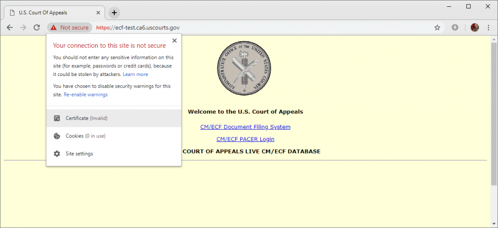 The DigiCert certificate used by this U.S. Court of Appeals website expired on 5 January 2019 and has not yet been renewed. The site provides links to a document filing system and PACER (Public Access to Court Electronic Records).