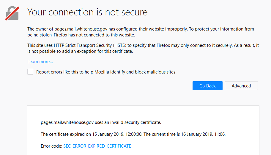 White House security warnings in Mozilla Firefox.