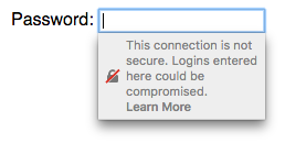 Mozilla Firefox's warning when selecting a password form field on a non-secure HTTP site