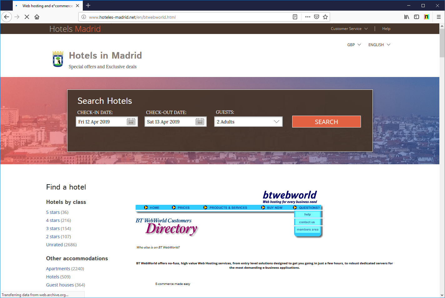 Screenshot of btwebworld.com