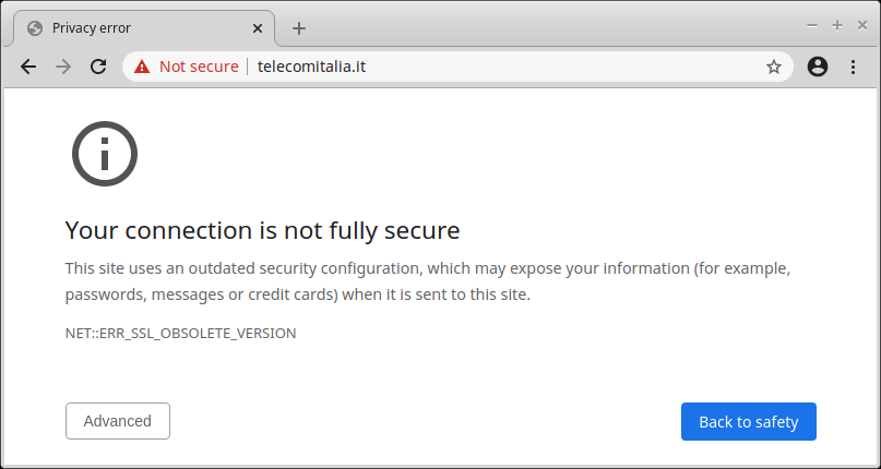Chrome fails to securely connect to a TLS 1.0-only website