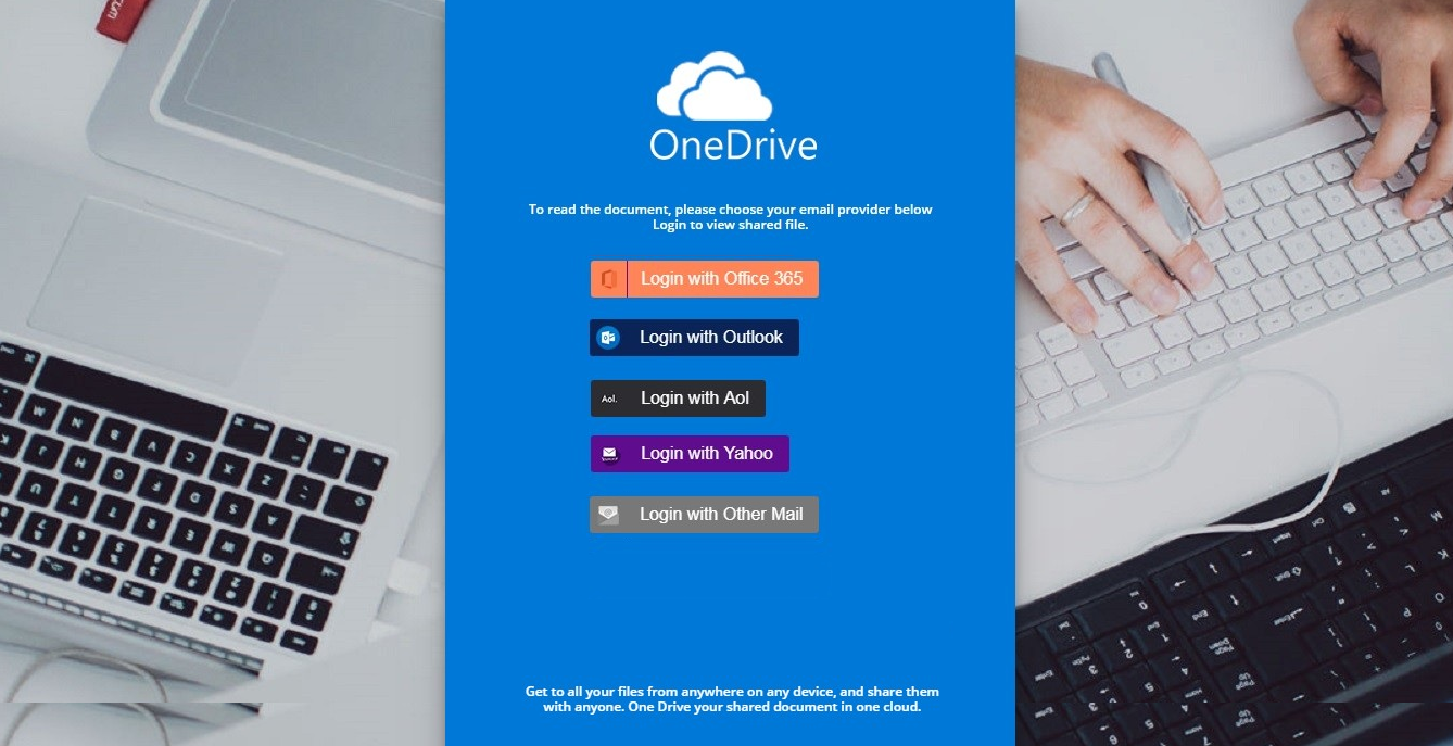Phishing attack impersonating Microsoft OneDrive which victims arrive at in the belief they will receive advice about their job