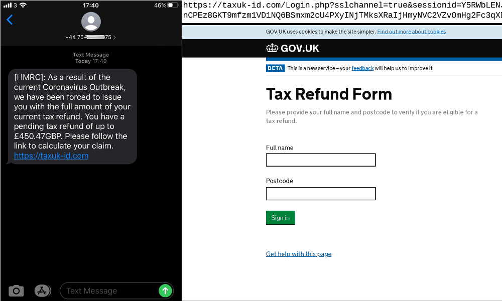 Coronavirus-themed SMiShing lure directing visitors to a standard HMRC tax refund phish