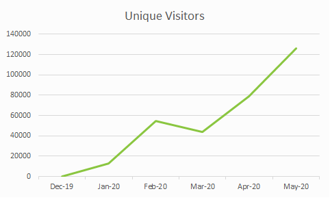 A graph showing unique visitors to a fake shop campaign